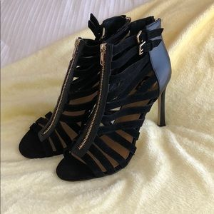 Black Ankle peekaboo Boot.Heel.Sandals.New w/o tag